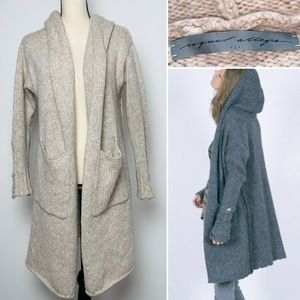 Raquel Allegra Deconstructed Hooded Coat Cream Tan